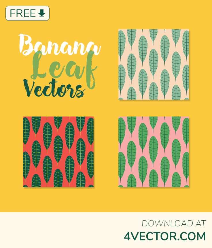 free download vibrant banana leaf vectors in 3 different colour templates
