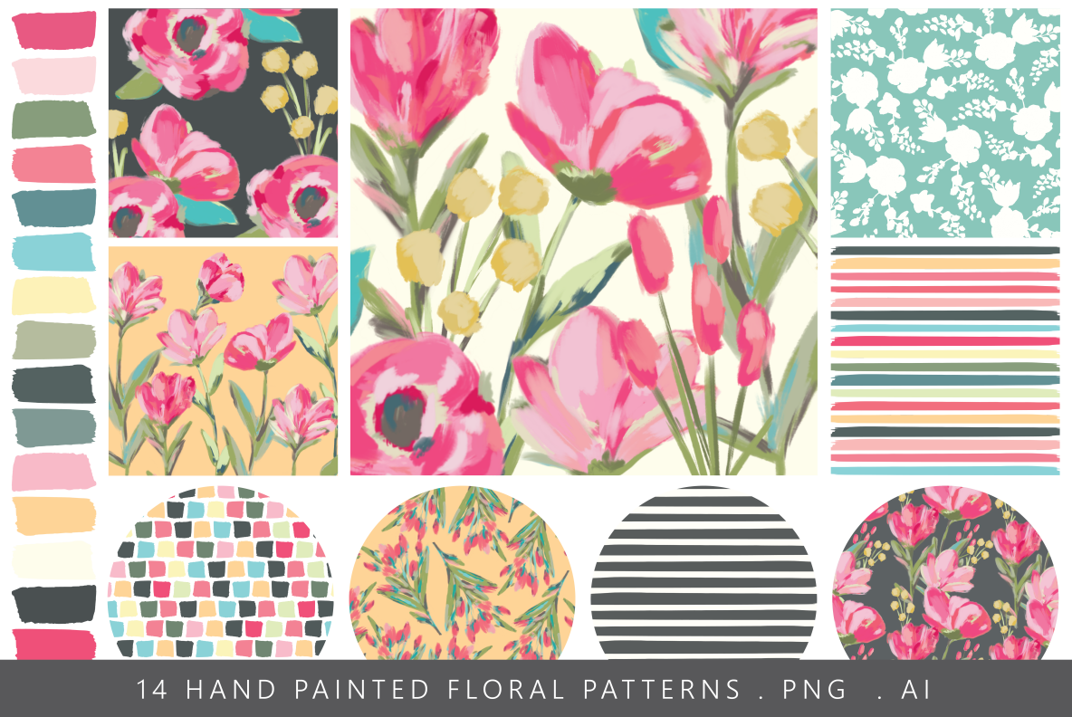 hand painted floral seamless patterns