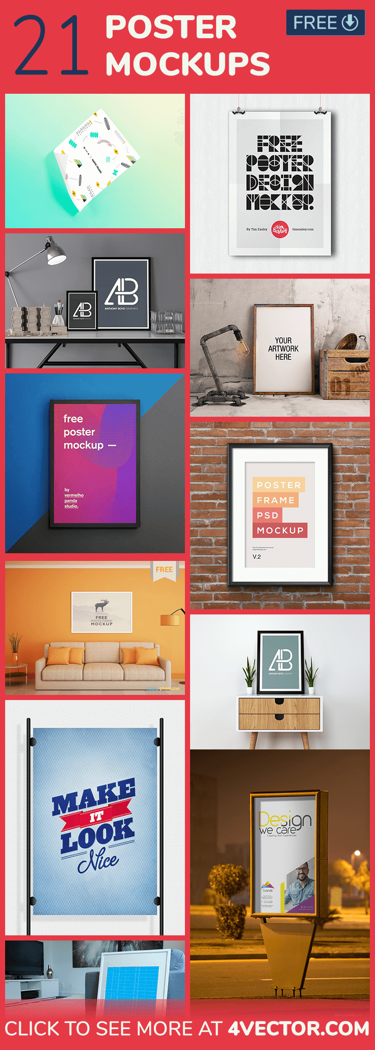 psd flyer and poster mockup collection