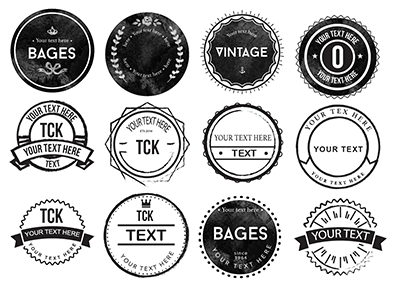 Collection of 20 rounded rough badges