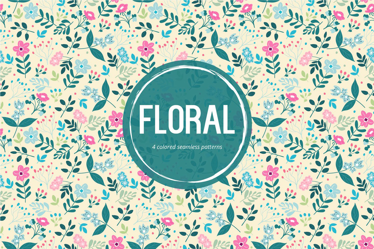 floral background in 4 different colors