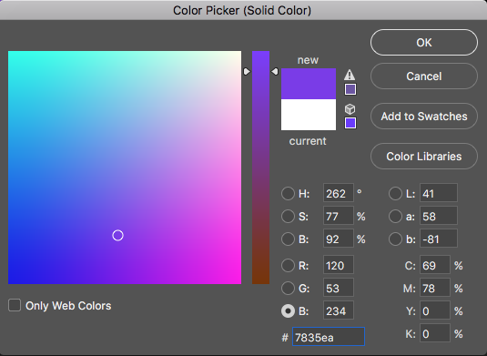 color picker window in Photoshop