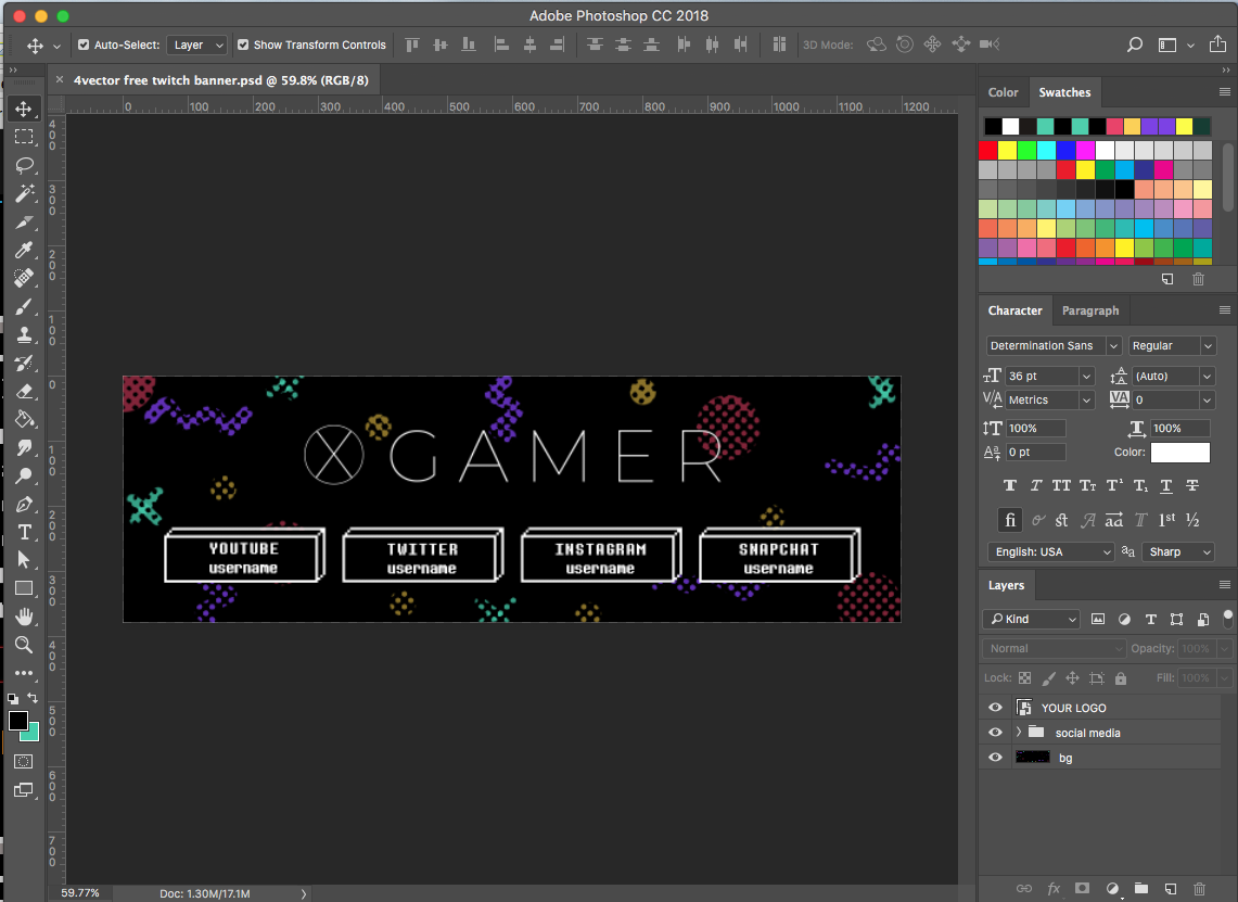 free twitch banner psd in photoshop