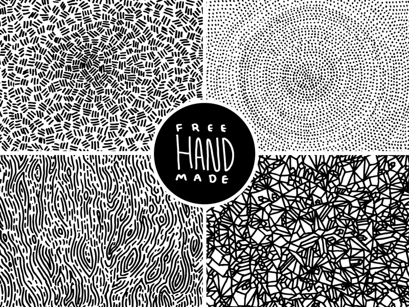 4 samples of free hand made patterns compiled into 1 image