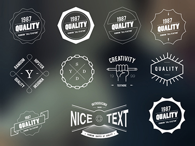 Image of 11 hipster style badges collection