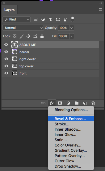 bevel and emboss effect in Photoshop