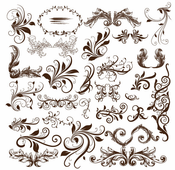 a collection of elegant and decorative floral swirls