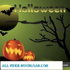 free vector Halloween   Pumpkins in the night