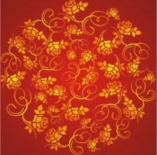 free vector The wealth rose pattern background vector