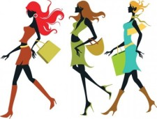 free vector Shopping Girls Vector