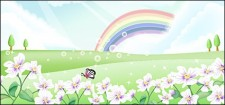 free vector Butterfly and flower in the Rainbow sky