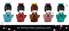 free vector Five traditional japanese kokeshi dolls
