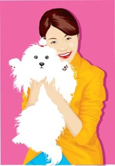 free vector Girl and dog 11