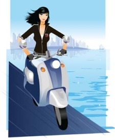 free vector Motorcycle girl 1