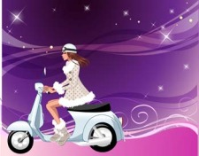 free vector Motorcycle girl 9