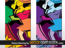 free vector Salsa dancing art illustration