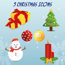 free vector 5 Christmas Vector Icons