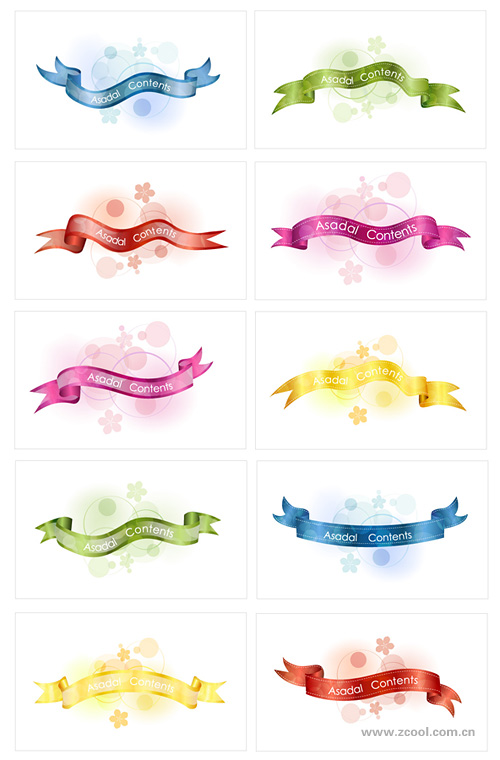 free vector 10 5color ribbon vector