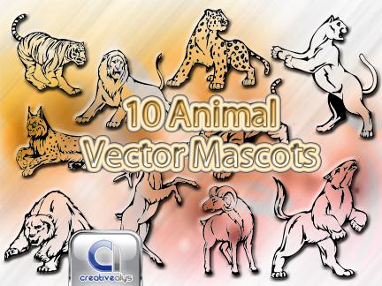 free vector 10 Animal Vector Mascots