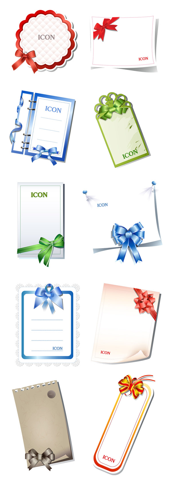 free vector 10 blank cards with bow vector
