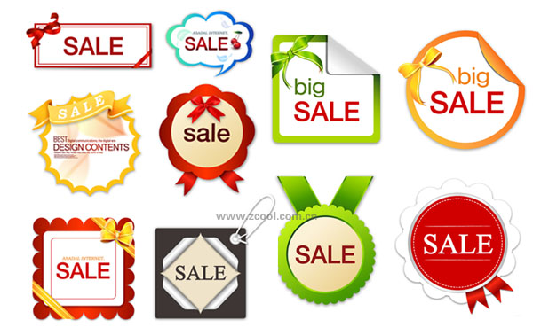 10 lovely sales discount tag vector Free Vector / 4Vector