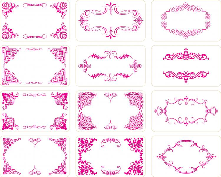 free vector 12 cards with exquisite lace elements of material