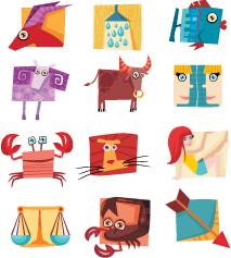 free vector 12 constellations cute icon vector