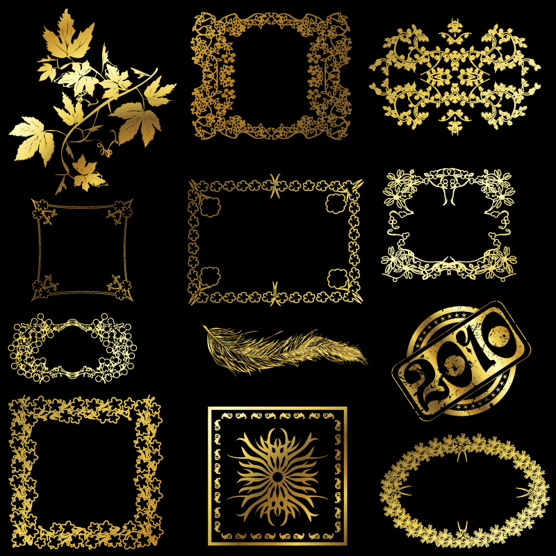 free vector 12 golden lace pattern vector