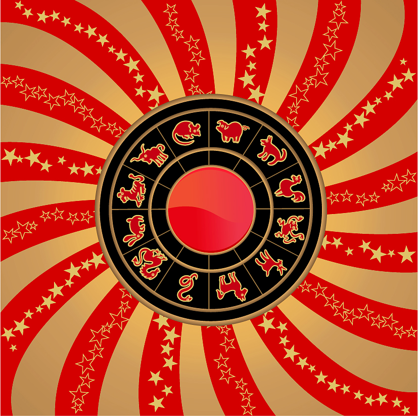 free vector 12 new year zodiac wheel star theme vector