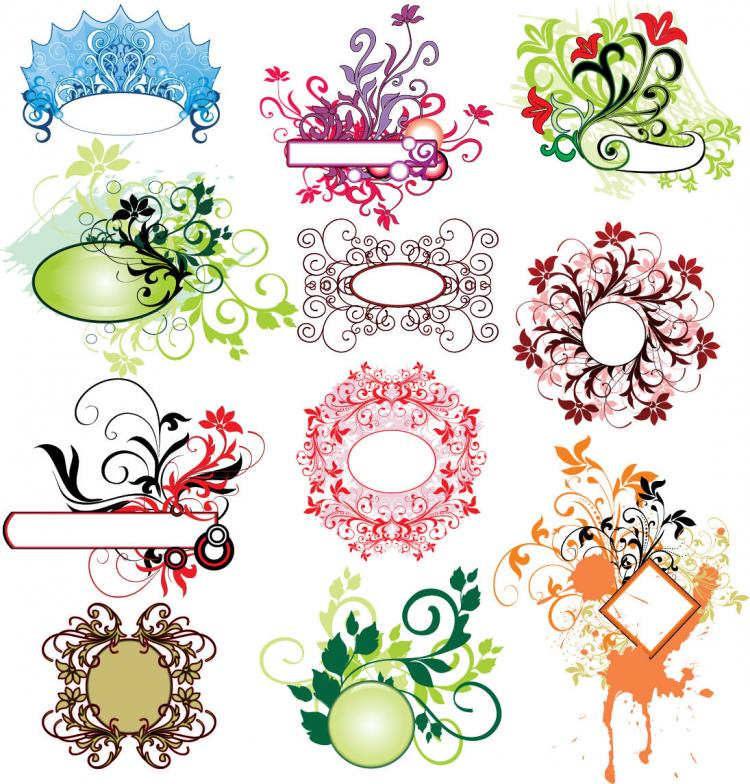 free vector 12 Practical Vector Floral Illustration