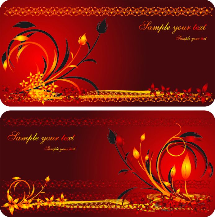 free vector 2 beautiful and practical gift card vector
