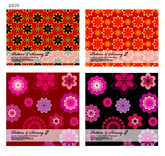 free vector 2 bright flowers vector background base map