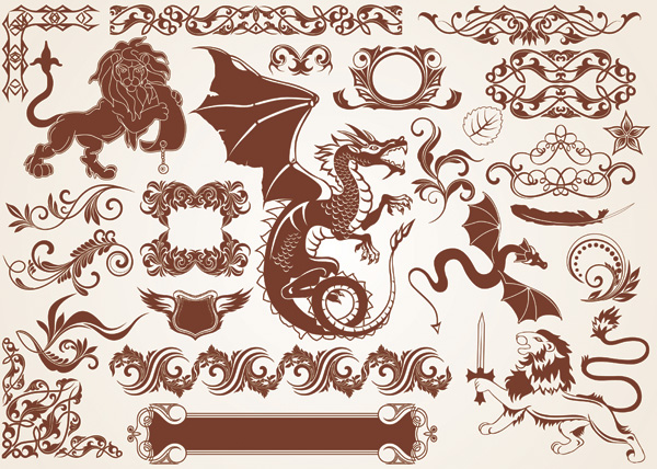 free vector 2 foreign dragon vector