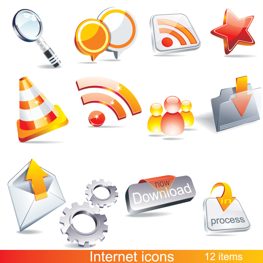 free vector 2 sets of beautiful 3d icon vector