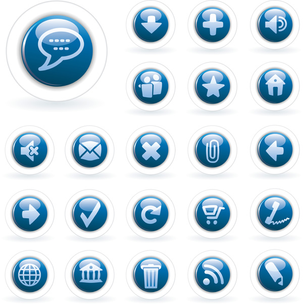 free vector 2 sets of blue tone icon vector