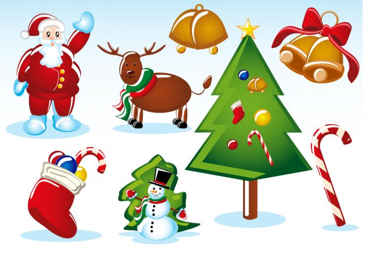 free vector 2 sets of christmas vector