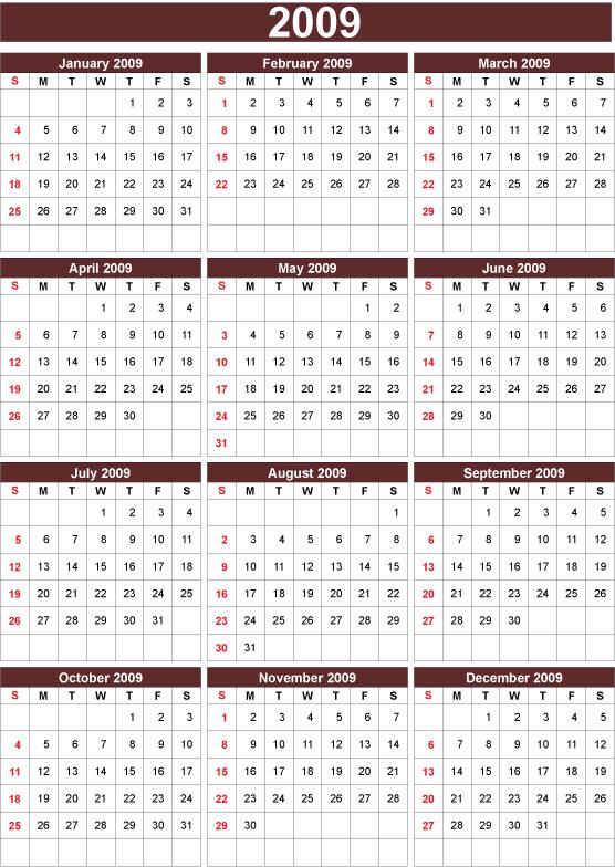 free vector 2009 calendar free vector set