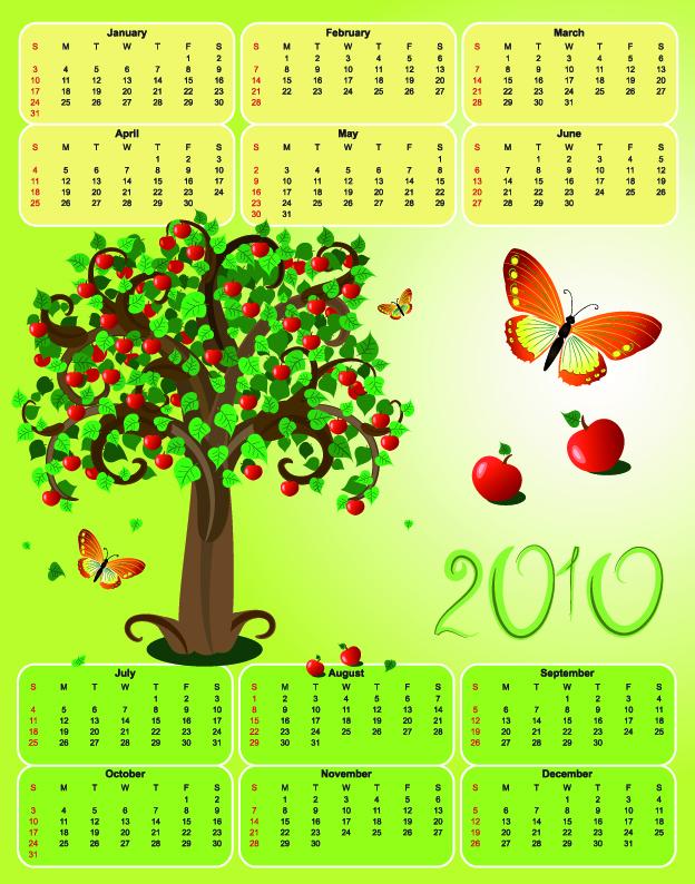 free vector 2010 apple theme calendar template vector butterfly