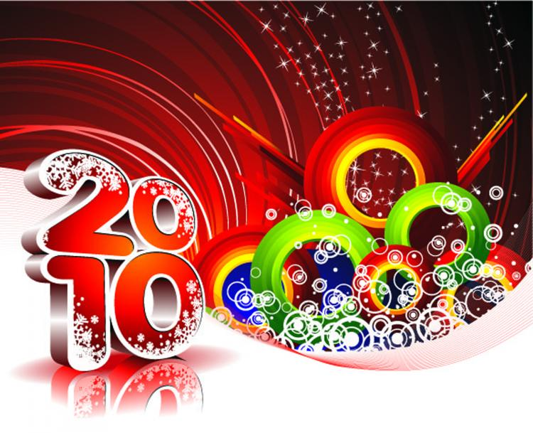 free vector 2010 new year background vector