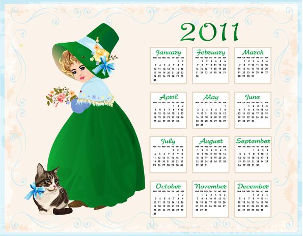 free vector 2011 calendar template 01 vector