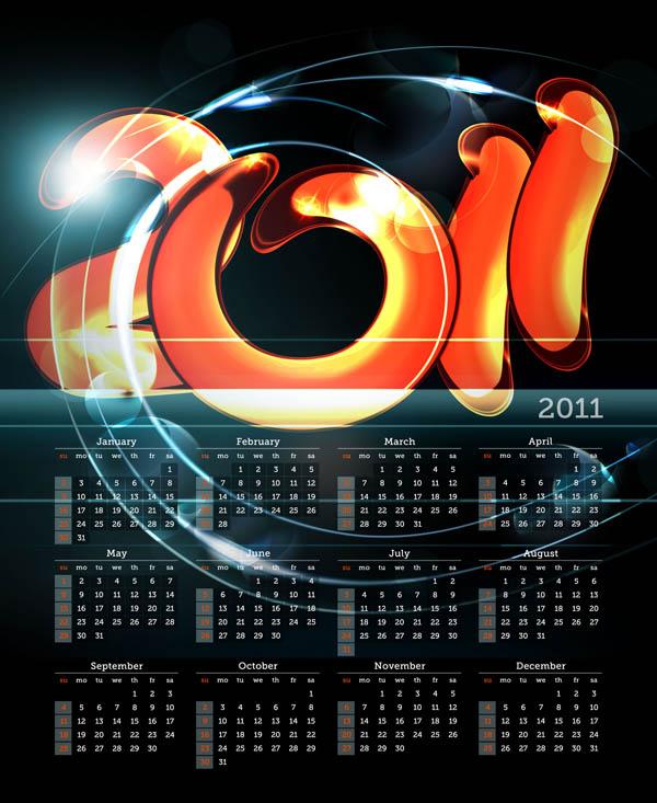 free vector 2011 calendar template 02 vector