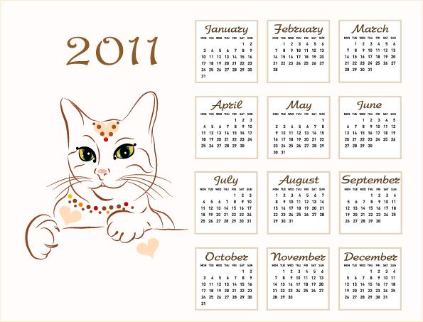 free vector 2011 calendar template 03 vector