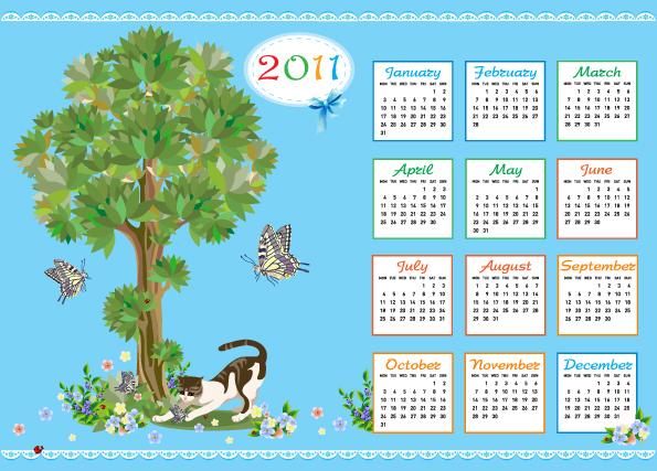 free vector 2011 calendar template 04 vector
