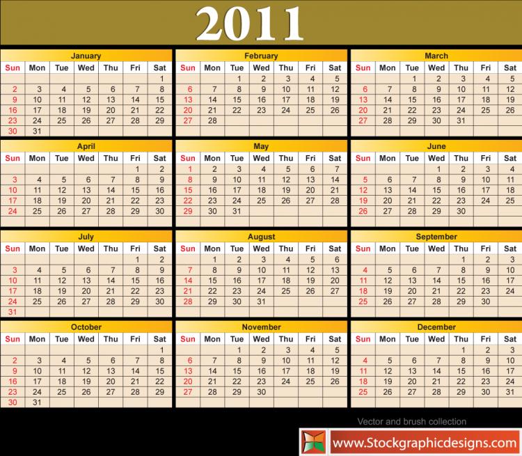 free vector 2011  calendar