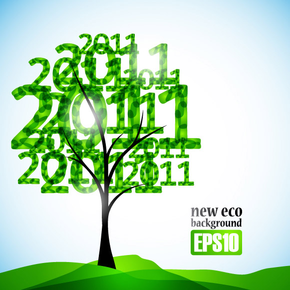 free vector 2011 fresh trees vector
