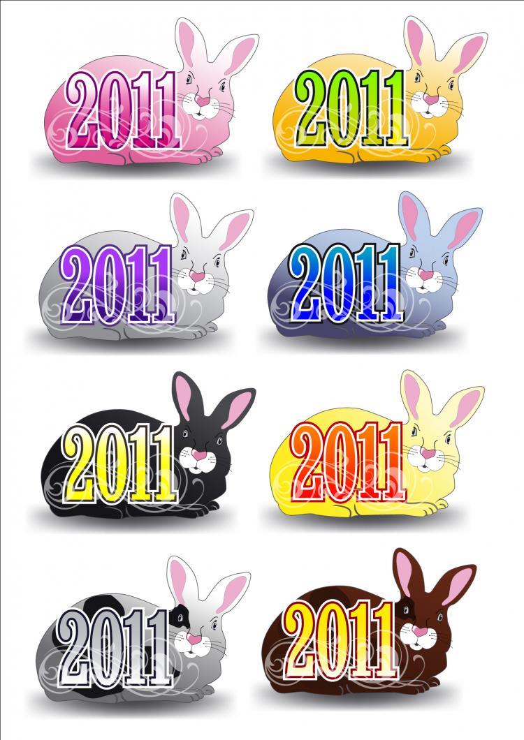 free vector 2011 rabbit pattern vector
