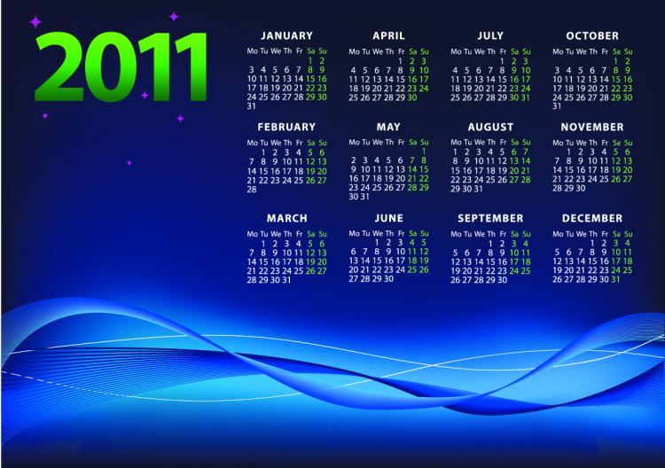 free vector 2011 vector calendar template vector