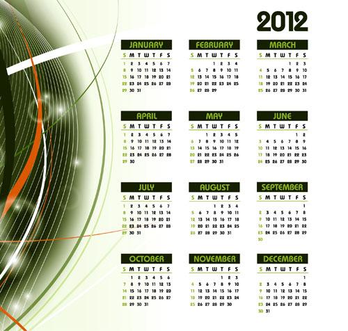 free vector 2012 calendar 01 vector elements