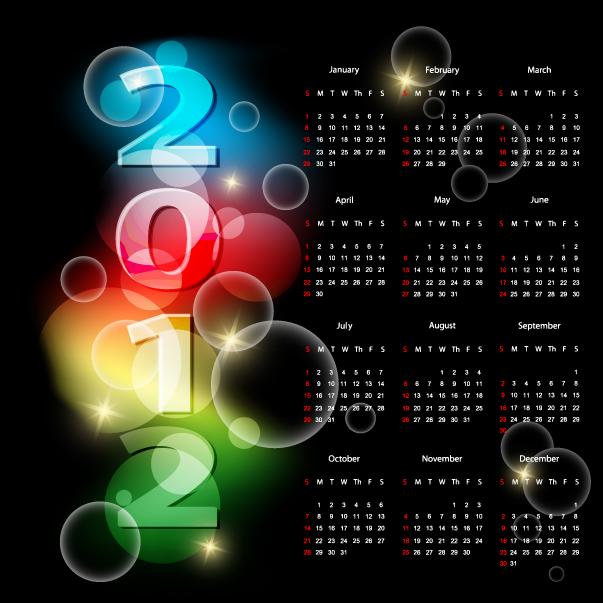 free vector 2012 calendar 01 vector