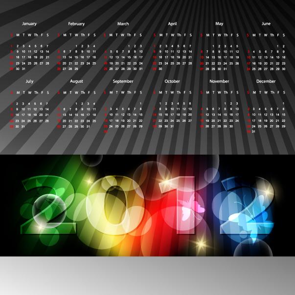free vector 2012 calendar 02 vector